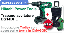 Trapano avvitatore reversibile in trolley con accessori DS14DFL