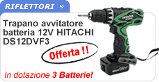 Trapano avvitatore 3 batterie Hitachi DS12DVF3