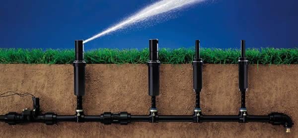Sezione impianto di irrigazione interrata