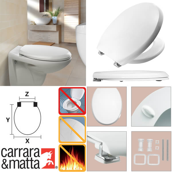 Ferramentaonline shop sedile wc atlantico bianco carrara matta - Carrara e matta accessori bagno ...